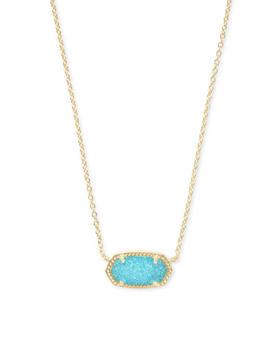 Elisa Necklace - Gold - Bright Aqua Drusy