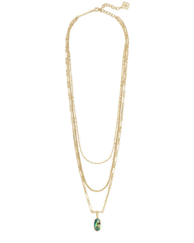Elisa Triple Strand Necklace - Gold - Abalone Shell