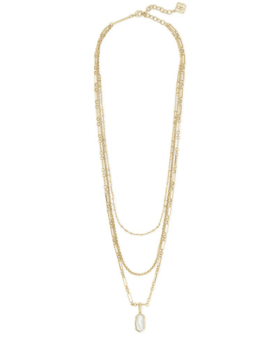 Elisa Triple Strand Necklace - Gold - Ivory Mother of Pearl