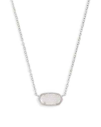 Elisa Necklace - Rhodium Iridescent Drusy