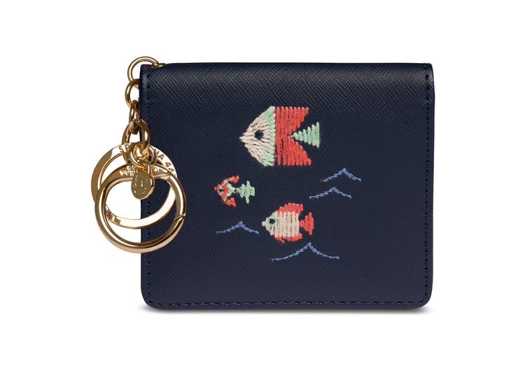 Spartina Embroidered Card Keychain Fish Navy