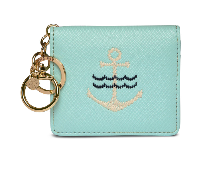 Spartina Embroidered Card Keychain Anchor Light Blue