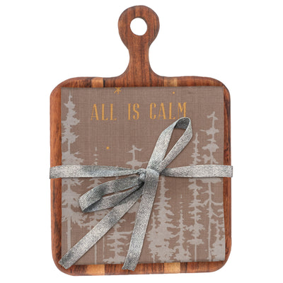 Cutting Board with Tea Towel  - All is Calm
