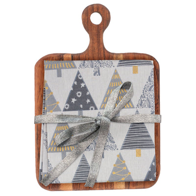 Cutting Board with Tea Towel  - Trees