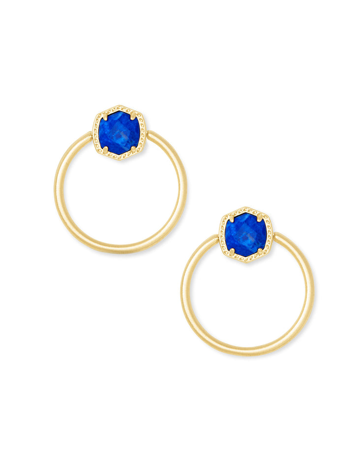 Davie Hoop Earring - Gold Cobalt Howlite