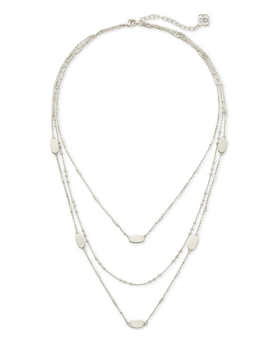 Fern Triple Strand - Bright Silver Metal