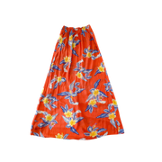 TROPICAL PALM PRINT  LADIES FRONT SLIT LONG SKIRT