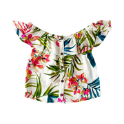 PALM TROPICAL PRINT LADIES OFF SHOULDER TOP