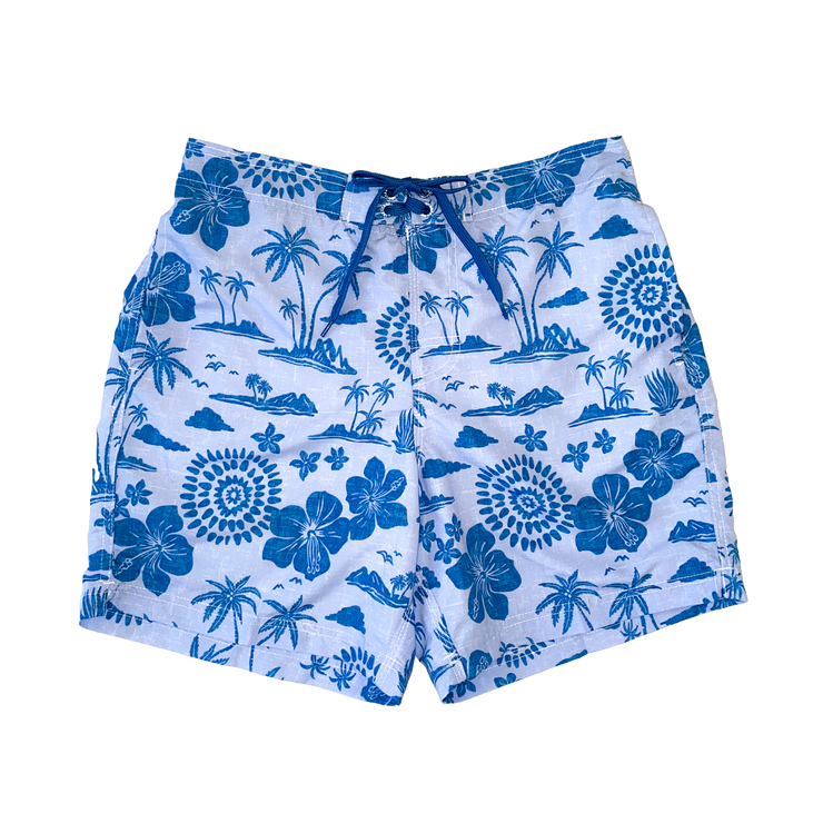 TROPICAL ISLAND PRINT MEN'S BOARD SHORTS