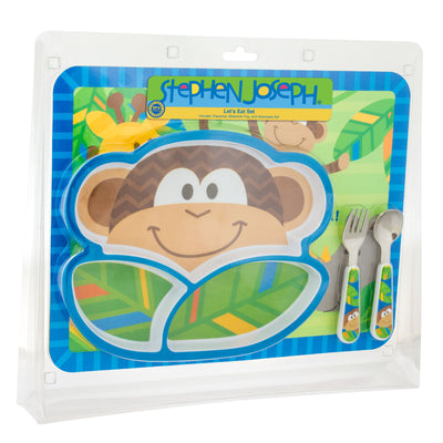 Monkey Plate and Silverware Set