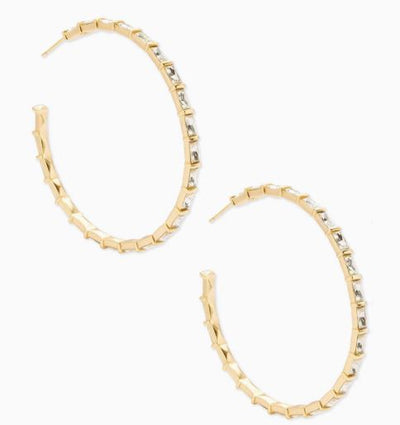 Thora Hoop Earrings ~ Gold Clear Crystal