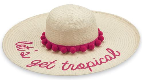 "Mud Pie ""Let's Get Tropical"" Straw Pom Pom Sun Hat"