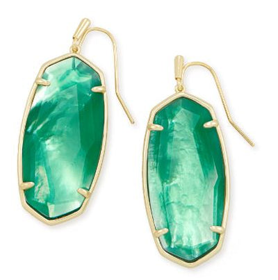 Kendra Scott Faceted Elle Gold Drop Earrings ~ Jade Green Illusion