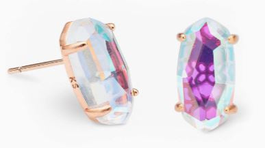 Betty Rose Gold Stud Earrings ~ Dichroic Glass