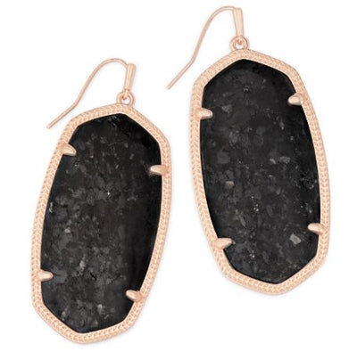 Kendra Scott Danielle Rose Gold Drop Earrings ~ Black Granite