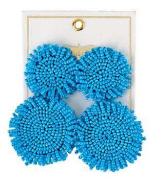 Mud Pie Beaded Circle Earrings ~ Blue