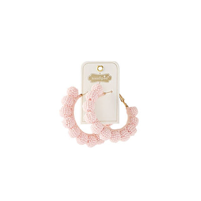 Mud Pie Beaded Hoop Earrings ~ Blush