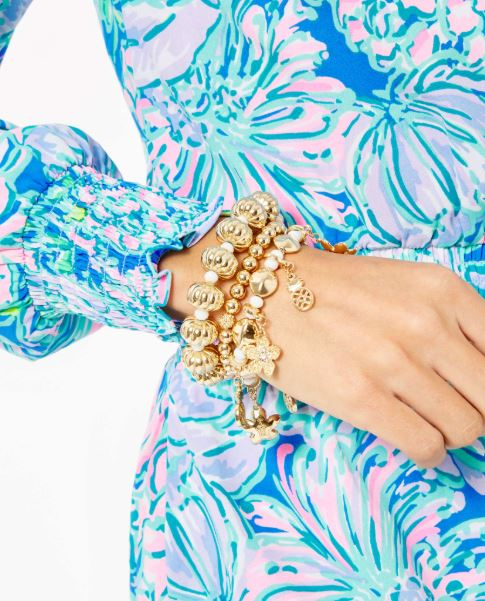 Lilly Pulitzer Love You Bunches Stretch Bracelet ~ Gold