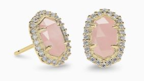 Cade Gold Stud Earrings ~ Rose Quartz