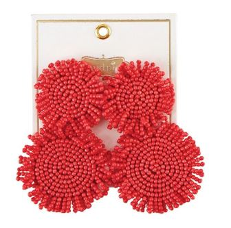 Mud Pie Beaded Circle Earrings ~ Coral