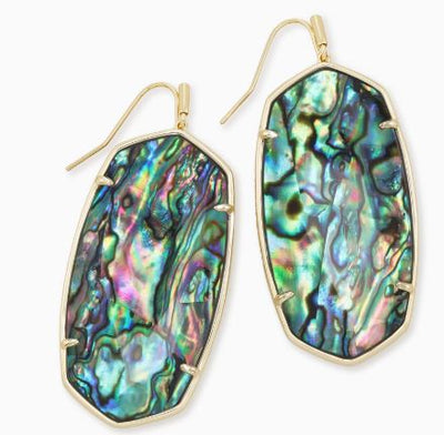 Faceted Danielle Gold Statement Earrings ~ Abalone