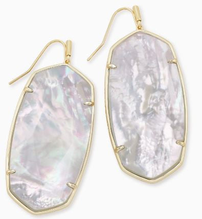 Faceted Danielle Gold Statement Earrings ~ Ivory Mother-Of-Pearl
