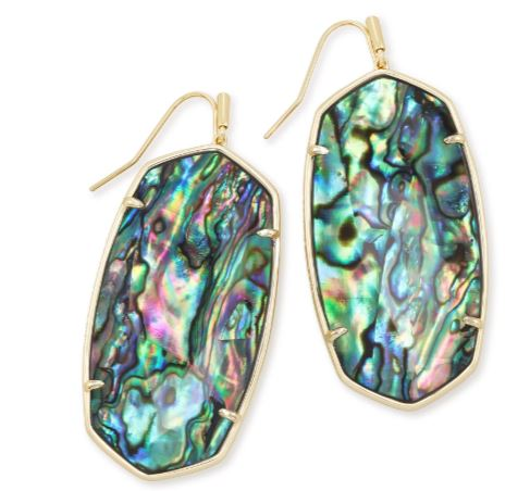 Kendra Scott Faceted Danielle Gold Statement Earrings In Abalone