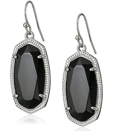 Dani Earring ~ Silver Black Opaque Glass