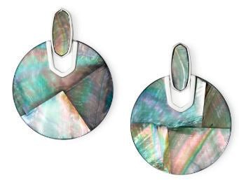 Didi Bright Silver Statement Earrings ~ Black Mother-Of-Pearl