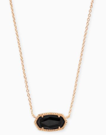 Elisa Rose Gold Pendant Necklace ~ Black Granite