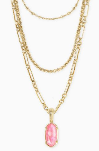 Elisa Gold Triple Strand Necklace ~ Iridescent Coral Illusion