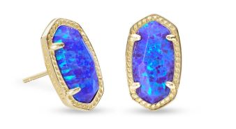 Ellie Gold Stud Earrings ~ Violet Kyocera Opal