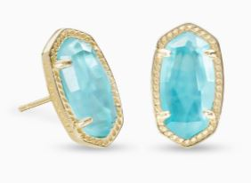 Ellie Gold Stud Earrings ~ Aqua Illusion