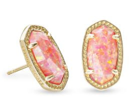 Ellie Gold Stud Earrings ~ Coral Kyocera Opal