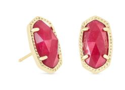 Ellie Gold Stud Earrings ~ Maroon Jade