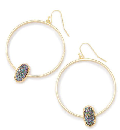 Elora Gold Hoop Earrings ~ Multicolor Drusy