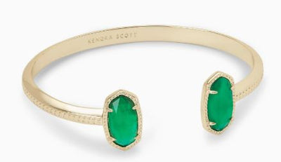 Elton Gold Cuff Bracelet ~ Jade Green Illusion