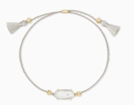 Everlyne Silver Cord Friendship Bracelet ~ Ivory Mother-Of-Pearl