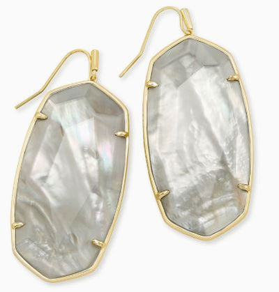 Faceted Danielle Gold Statement Earrings ~ Gray Illusion