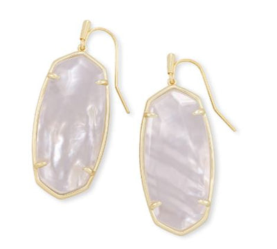 Kendra Scott Faceted Elle Gold Drop Earrings In Ivory Mother-Of-Pearl