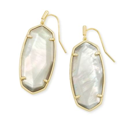 Faceted Elle Gold Drop Earrings ~ Gray Illusion