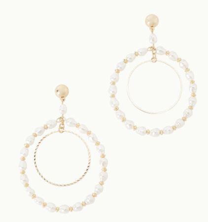 Lilly Pulitzer Kismet Pearl Hoop Earrings ~ Resort White