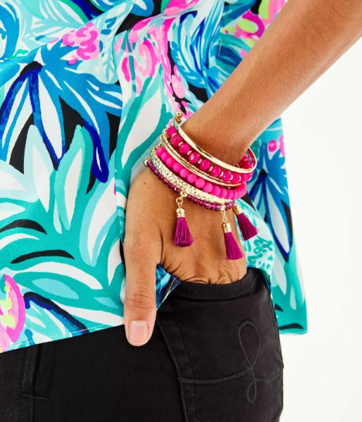 Lilly Pulitzer Island Jungle Bracelet ~ Berry Soiree