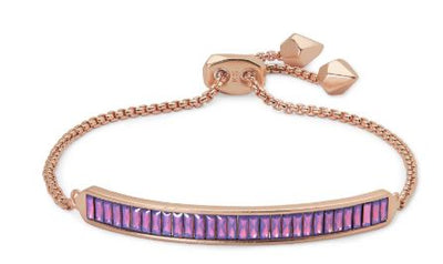 Jack Adjustable Rose Gold Chain Bracelet ~ Raspberry Crystal