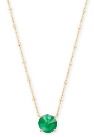 Jolie Gold Pendant Necklace ~ Jade Green Illusion