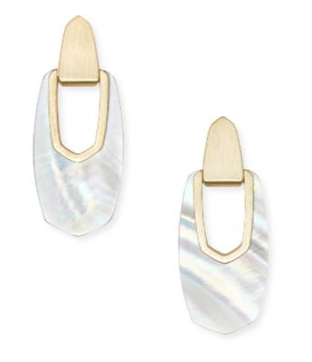 Kailyn Gold Drop Earrings ~ Ivory Mother-Of-Pearl