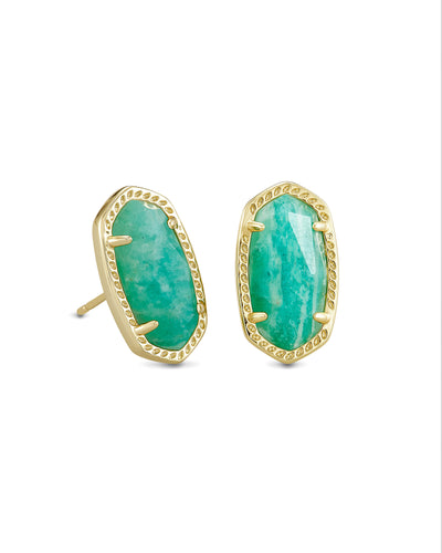 Ellie Earring - Gold Dark Teal Amazonite