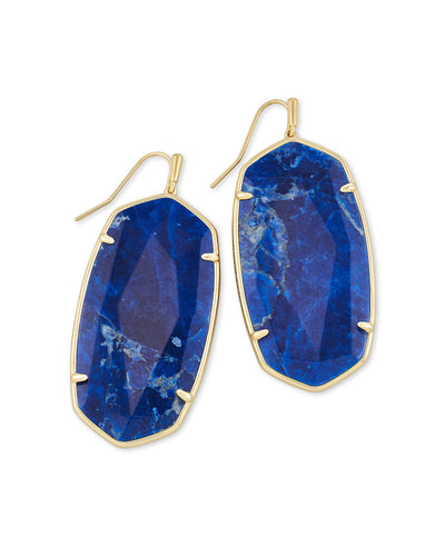 Faceted Danielle Earring - Gold Cobalt Howlite