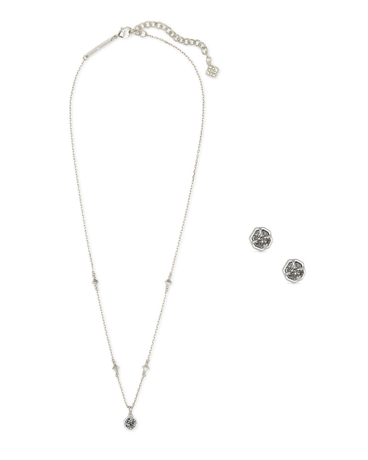 Gift Set Nola Necklace & Stud - Rhodium Platinum Drusy
