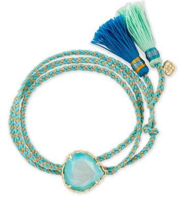 Kenzie Aqua Cord Friendship Bracelet ~Gold Aqua Illusion